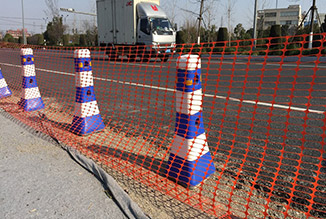 Safety fence on the road